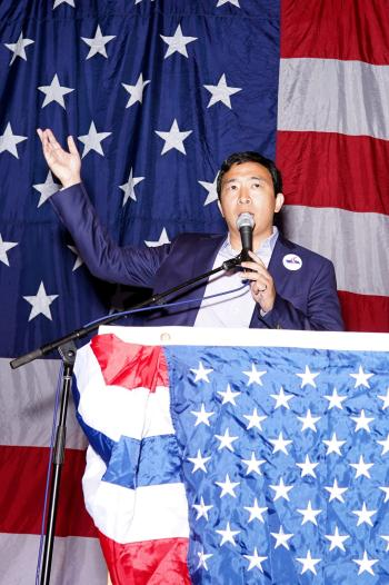 Entrepreneur Andrew Yang speaks at the Iowa Democratic Wing Ding in Clear Lake, Iowa, U.S.