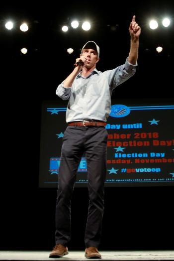 Democratic U.S. senate candidate Beto O'Rourke speaks during a rally at the University of Texas at El Paso in El Paso, Texas