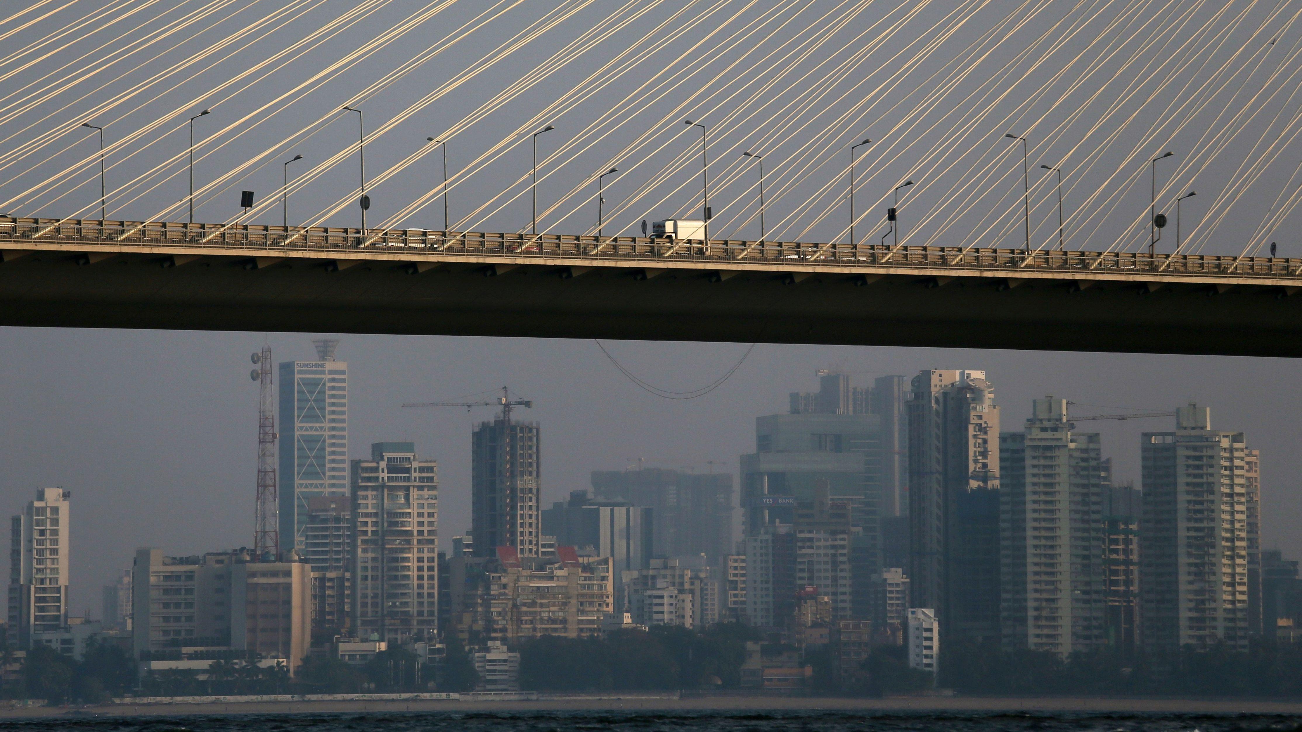 Traffic moves along Bandra-Worli sea link over the Arabian Sea in Mumbai