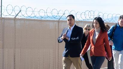 U.S. Representatives Xochitl Torres Small (D-NM) and Joaquin Castro (D-TX) exit after touring a Border Patrol substation with other legislators,