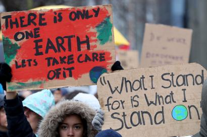 """People take part in a march called """"Rise for Climate"""" in Brussels"""