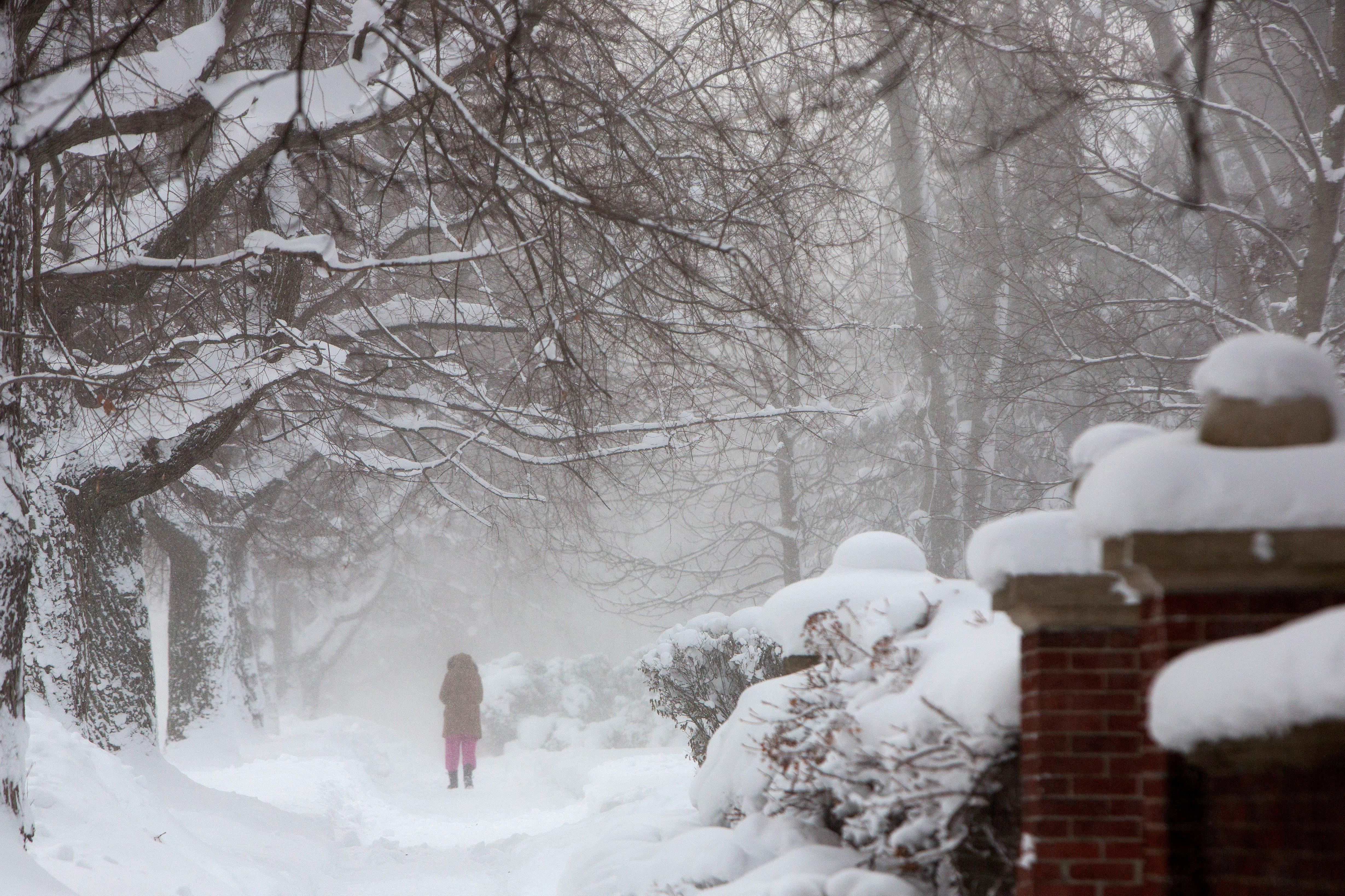 pedestrian walks through a snow storm