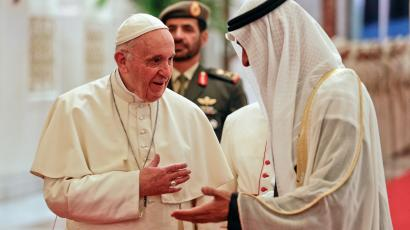 Pope Francis is welcomed by Abu Dhabi's Crown Prince Mohammed bin Zayed Al-Nahyan in Abu Dhabi, United Arab Emirates.