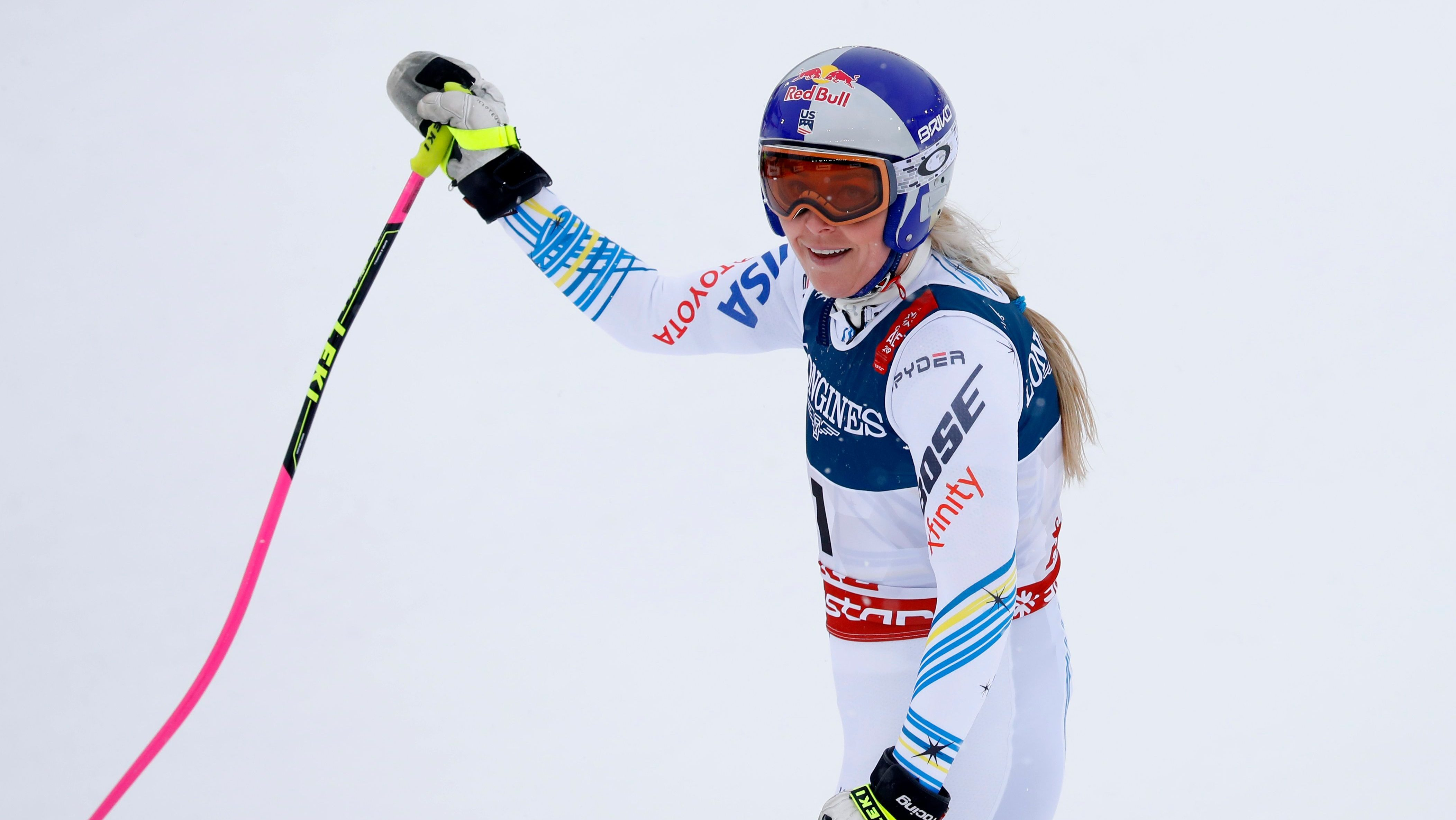 Alpine Skiing - FIS Alpine World Ski Championships - Women's Alpine Combined - Downhill - Are, Sweden - February 8, 2019 - Lindsey Vonn of the U.S. reacts after finishing the race.