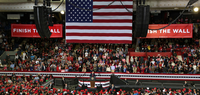 U.S. President Donald Trump speaks during a campaign rally at El Paso County Coliseum in El Paso, Texas, U.S