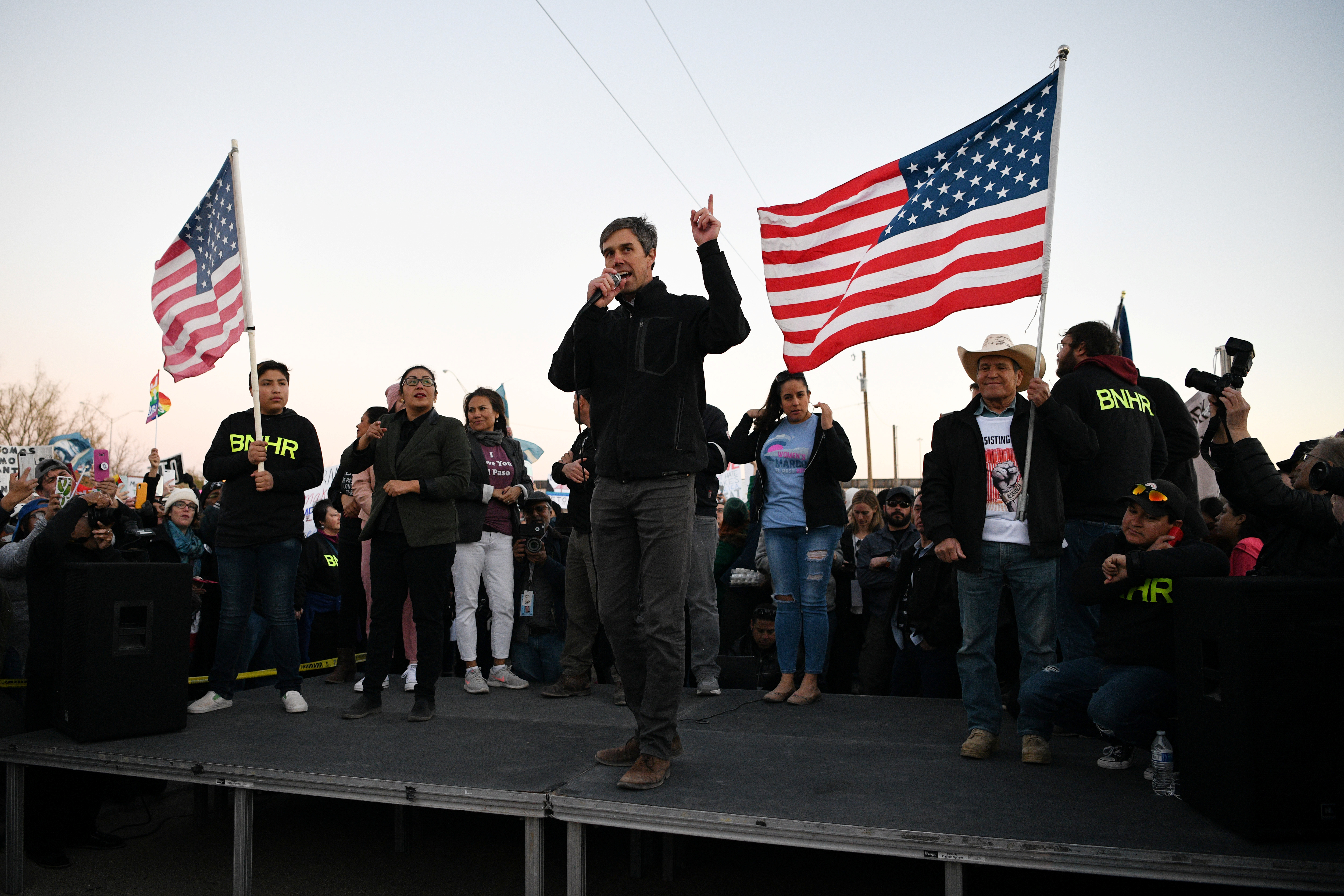 Beto O'Rourke, the Democratic former Texas congressman, addresses supporters before an anti-Trump march in El Paso, Texas, U.S.