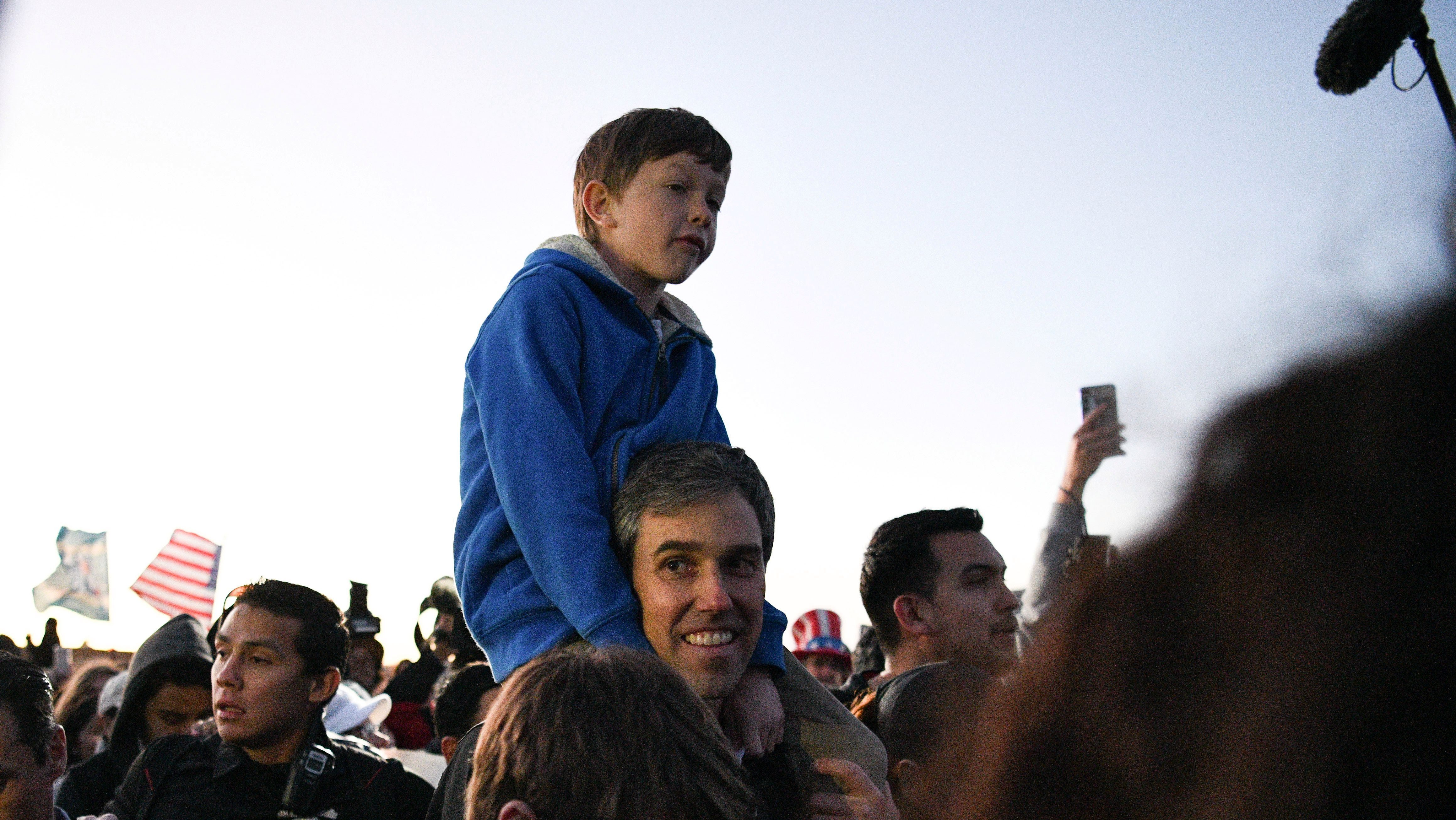 Beto O'Rourke, the Democratic former Texas congressman, participates in an anti-Trump march with his family in El Paso, Texas, U.S., February 11, 2019.