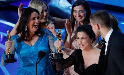 "91st Academy Awards - Oscars Show - Hollywood, Los Angeles, California, U.S., February 24, 2019. Rayka Zehtabchi and Melissa Berton accept the Best Documentary Short Subject award for ""Period. End Of Sentence."""
