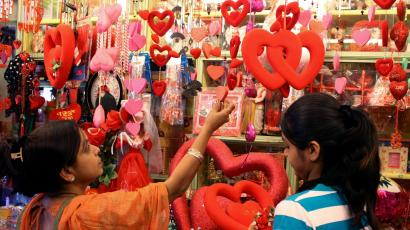 Customers look for gifts ahead of Valentine's Day celebrations in shop in Ahmedabad