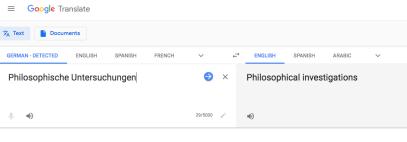 'Philosophical Investigations' translated by Google Translate