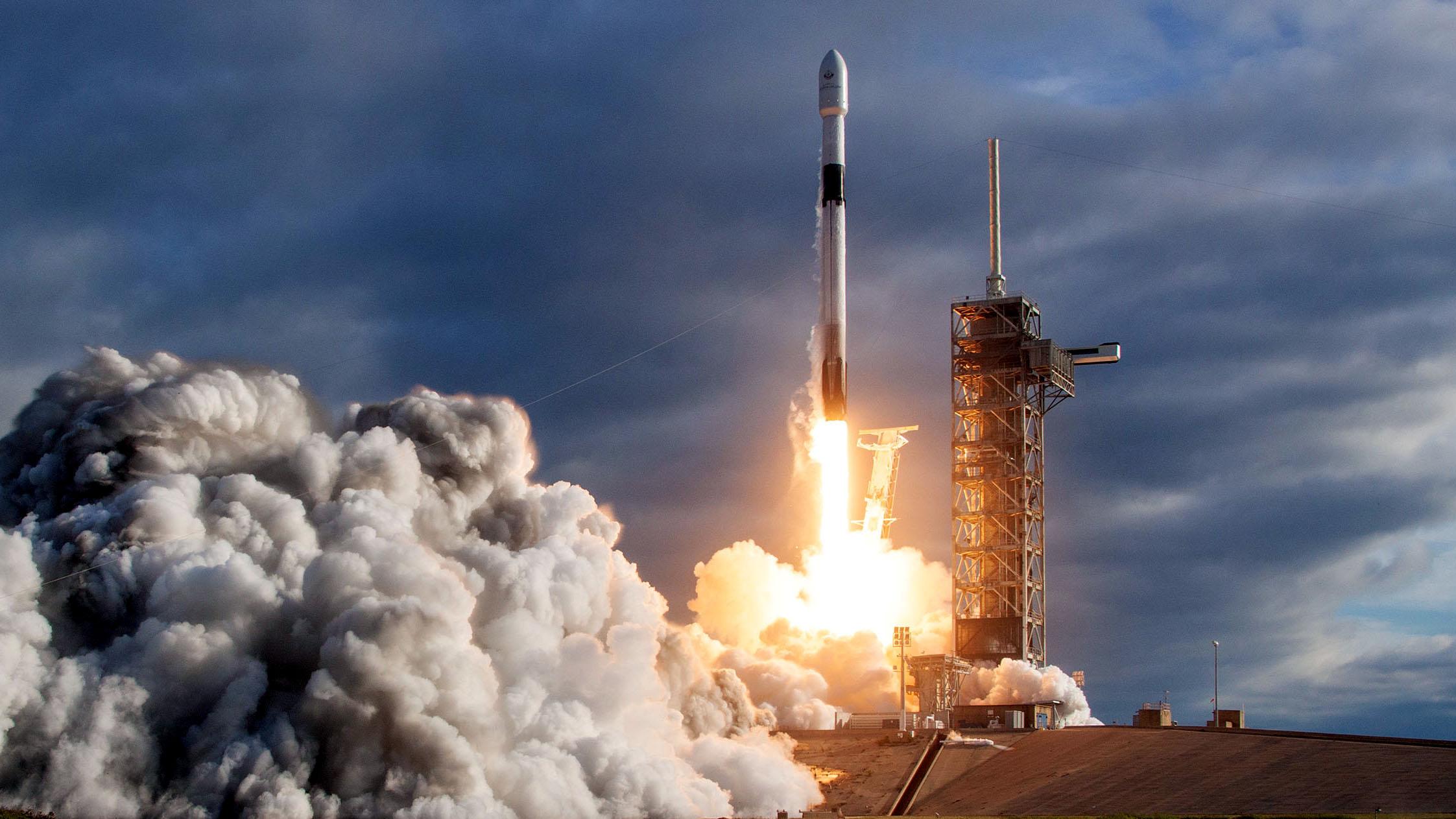 A SpaceX Falcon 9 launches a Qatari satellite in Nov. 2018.