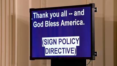 A teleprompter for President Donald Trump is shown during a National Space Council meeting in the East Room of the White House in Washington, Monday, June 18, 2018. (AP Photo/Susan Walsh)
