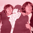 The British pop group, the Beatles, Paul McCartney, left, Ringo Starr, center, and George Harrison posing with a plasterboard effigy of John Lennon at a Movie Function in London July 8, 1968.