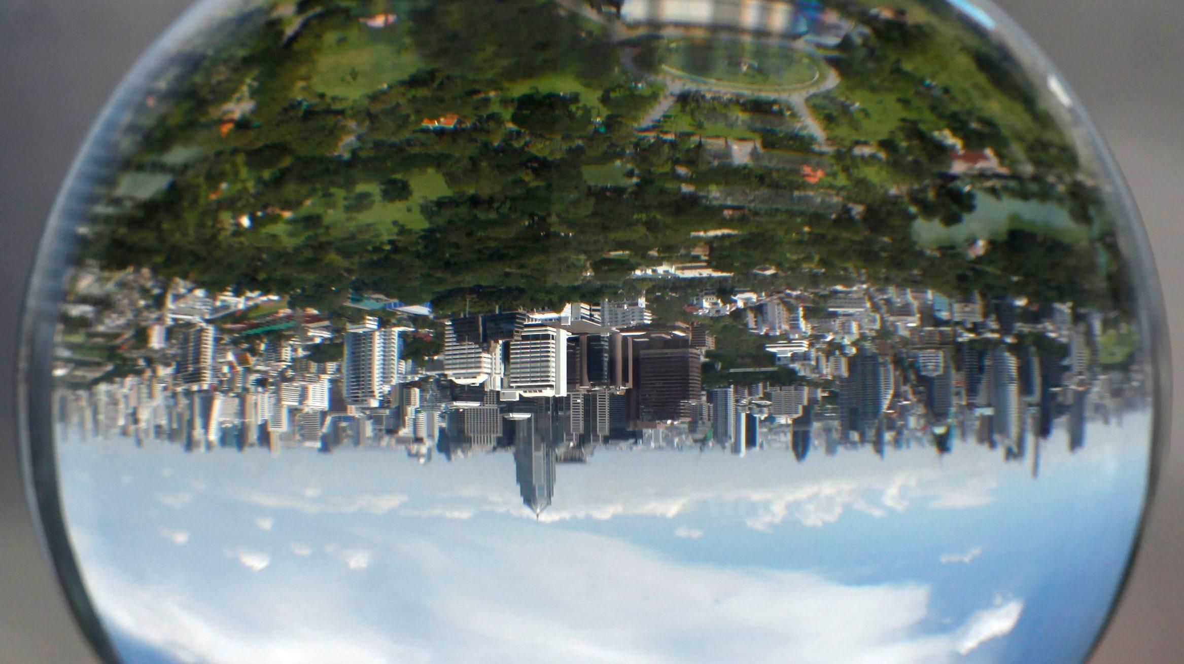 Upside down cityscape