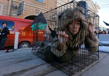 Animal rights activists in Russia.