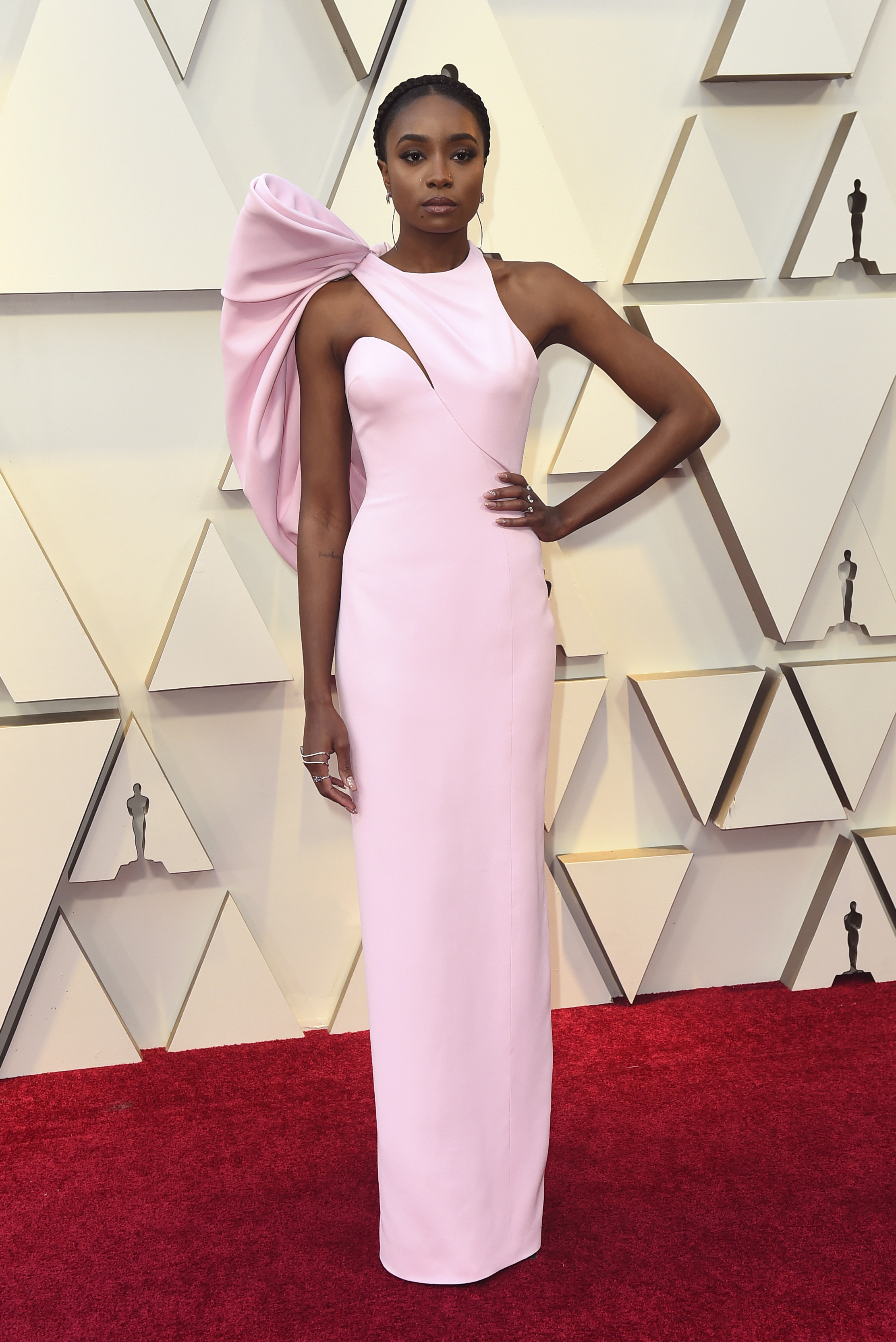 Kiki Layne arrives at the Oscars on Sunday, Feb. 24, 2019, at the Dolby Theatre in Los Angeles. (Photo by Jordan Strauss/Invision/AP)