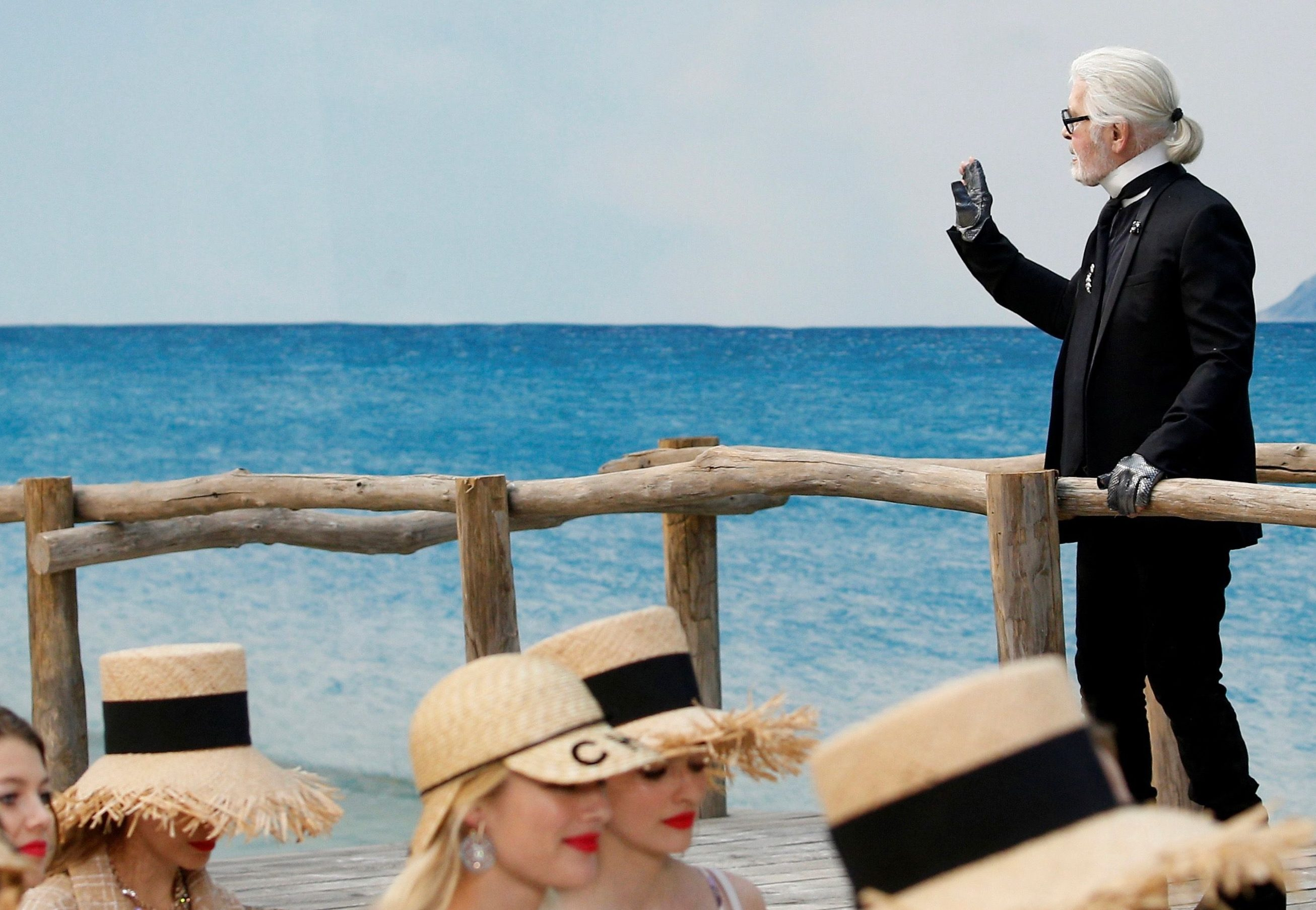 Lagerfeld in his full regalia at the Chanel Spring/Summer 2019 show.