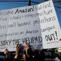 Demonstrators gather to protest Amazon's new location workplace in Long Island City of the Queens borough of New York, U.S., November 14, 2018.