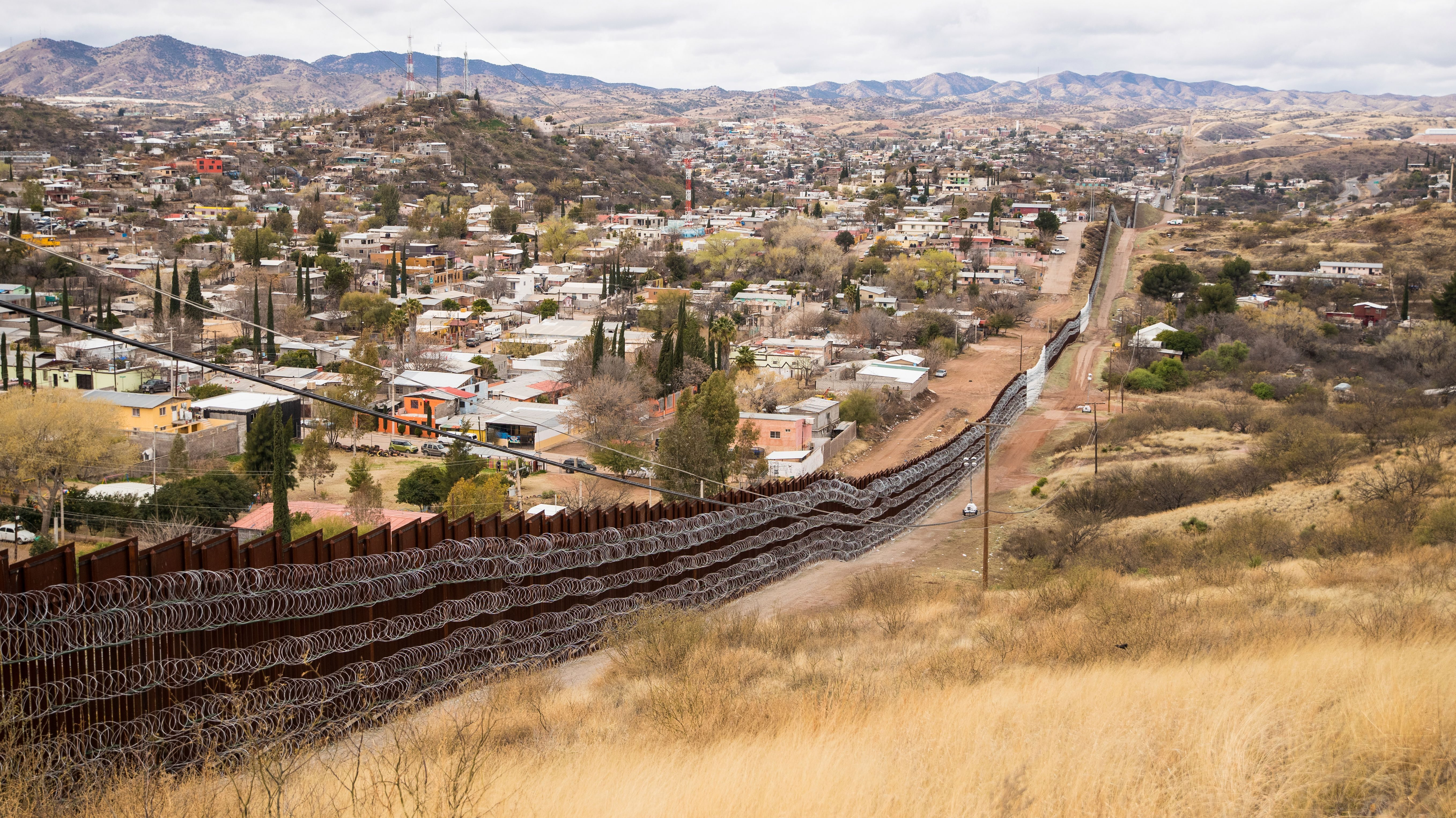 Nogales Border Wall and concertina Wire