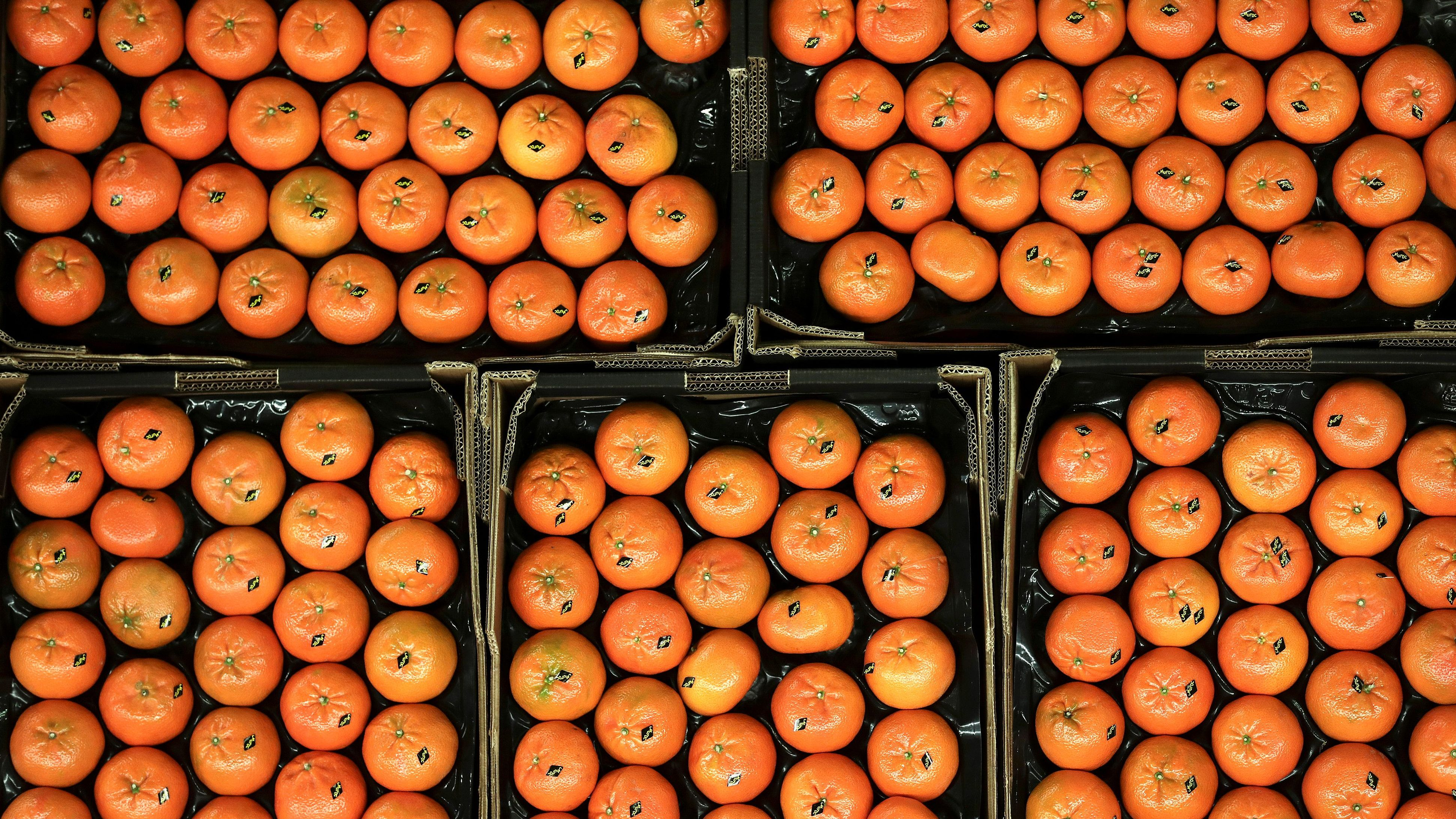 Mandarins sit on display at New Covent Garden wholesale market in London, Britain February 3, 2018.