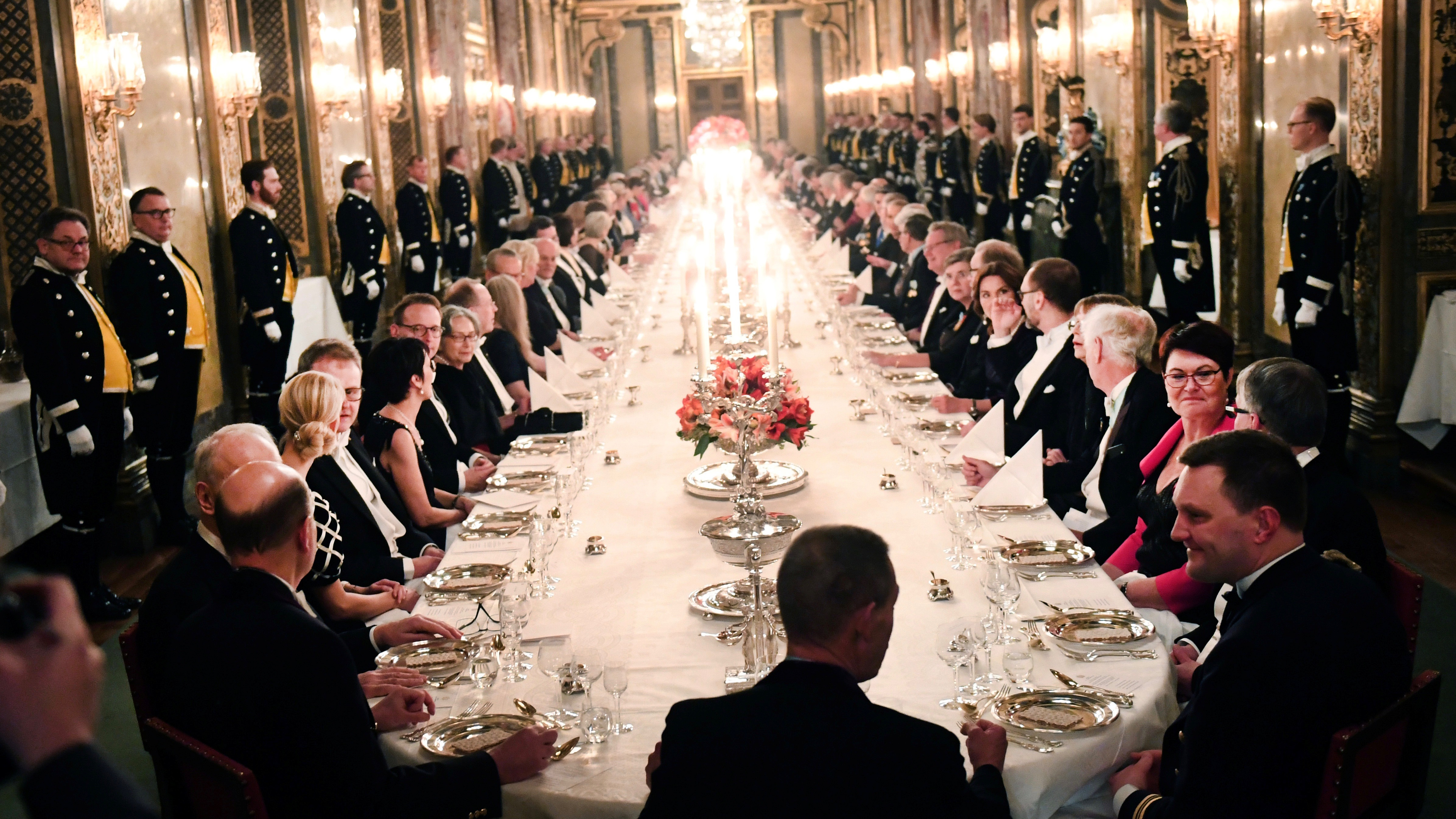 The King's dinner for Nobel Laureates at the Royal Palace in Stockholm.