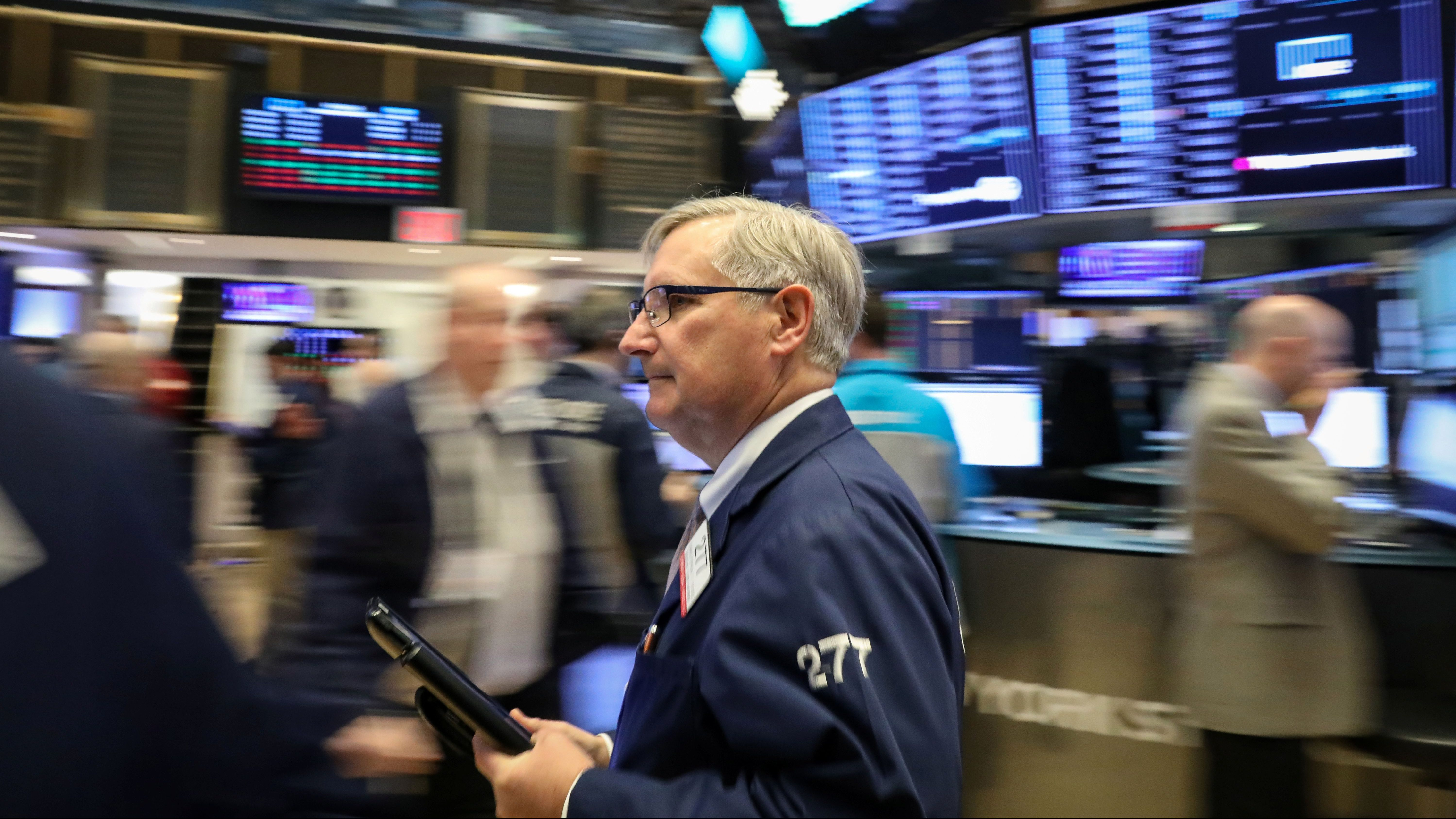 Traders work on the floor of the New York Stock Exchange (NYSE) in New York, U.S., February 8, 2019.