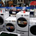 A row of washing machines for sale at Lowe's Home Improvement store