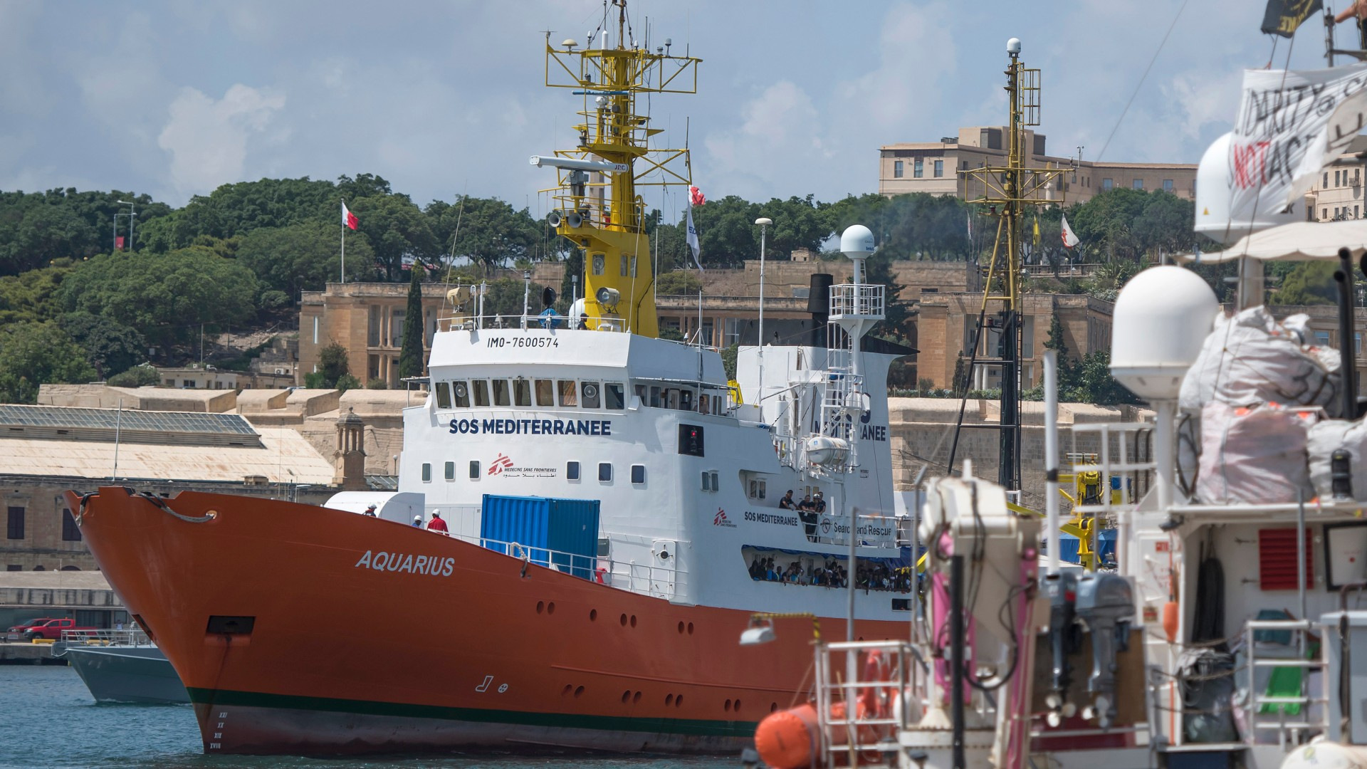 NGO ship Aquarius docked
