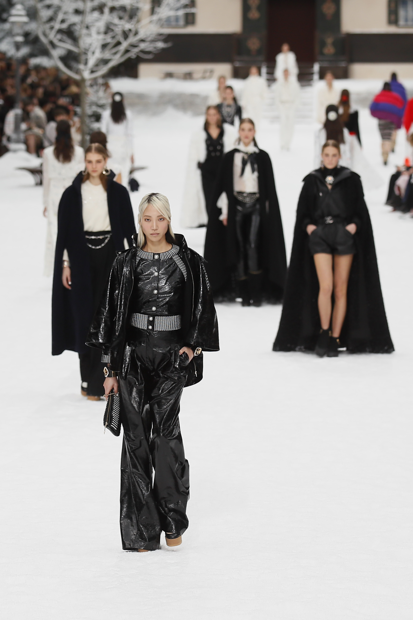 Models wear creations as part of the Chanel ready to wear Fall-Winter 2019-2020 collection, that was presented in Paris, Tuesday, March 5, 2019. (AP Photo/Francois Mori)