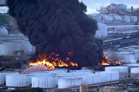 Pictures of petrochemical fire near Houston that will burn