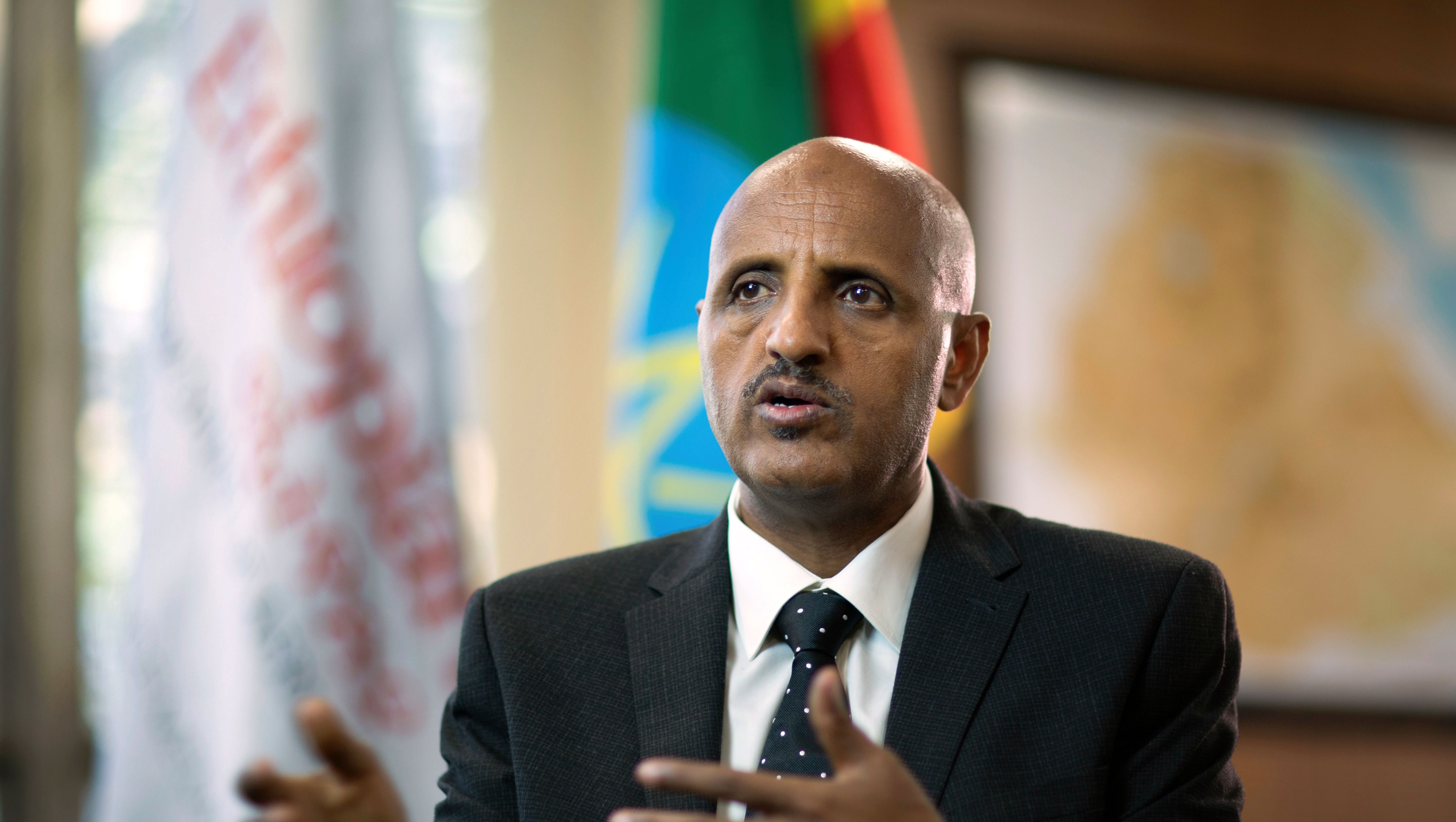 Tewolde Gebremariam, Chief Executive Officer of Ethiopian Airlines, speaks to The Associated Press at Bole International Airport in Addis Ababa, Ethiopia Saturday, March 23, 2019. The chief of Ethiopian Airlines says the warning and training requirements set for the now-grounded 737 Max aircraft may not have been enough following the Ethiopian Airlines plane crash that killed 157 people.