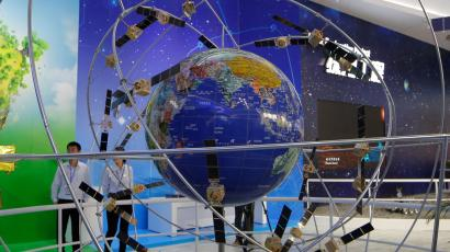 In this file photo taken Tuesday, Nov. 6, 2018, a model of Chinese BeiDou navigation satellite system is displayed during the 12th China International Aviation and Aerospace Exhibition, also known as Airshow China 2018, in Zhuhai city, south China's Guangdong province. The Beidou will link more than 30 satellites providing real-time geospatial information worldwide _ China's answer to the GPS (Global Positioning System). (AP Photo/Kin Cheung)