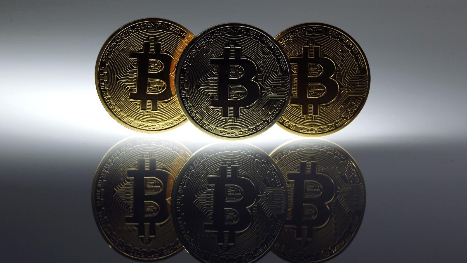 Mock bitcoins on a table