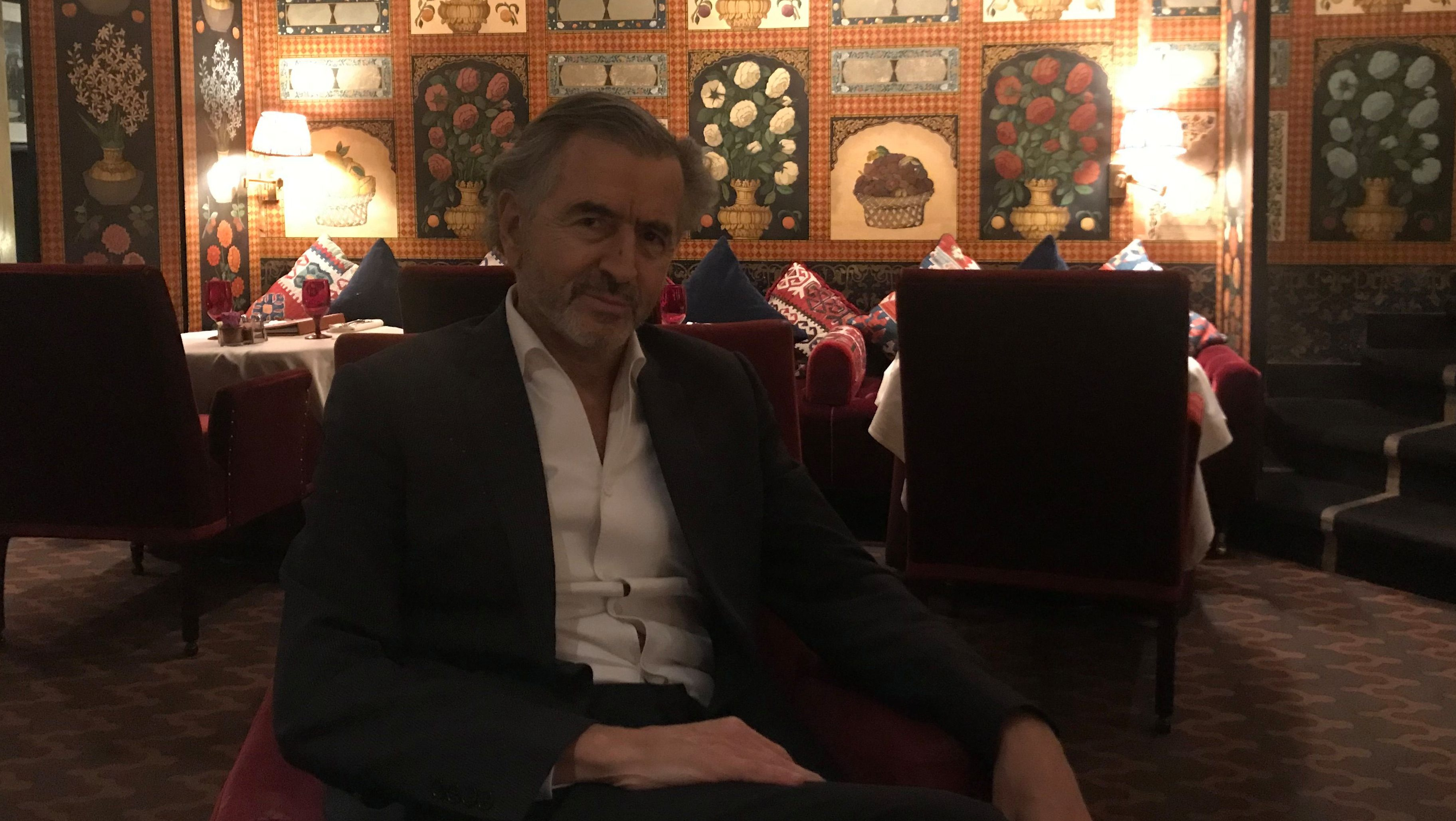 Bernard Henri Levy at the Carlyle Hotel in New York.