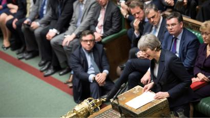 Britain's Prime Minister Theresa May speaks in Parliament