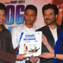 Music company T-series MD Kumar, Bollywood actors Khan, Kapoor and co-director Tandan pose with music album of