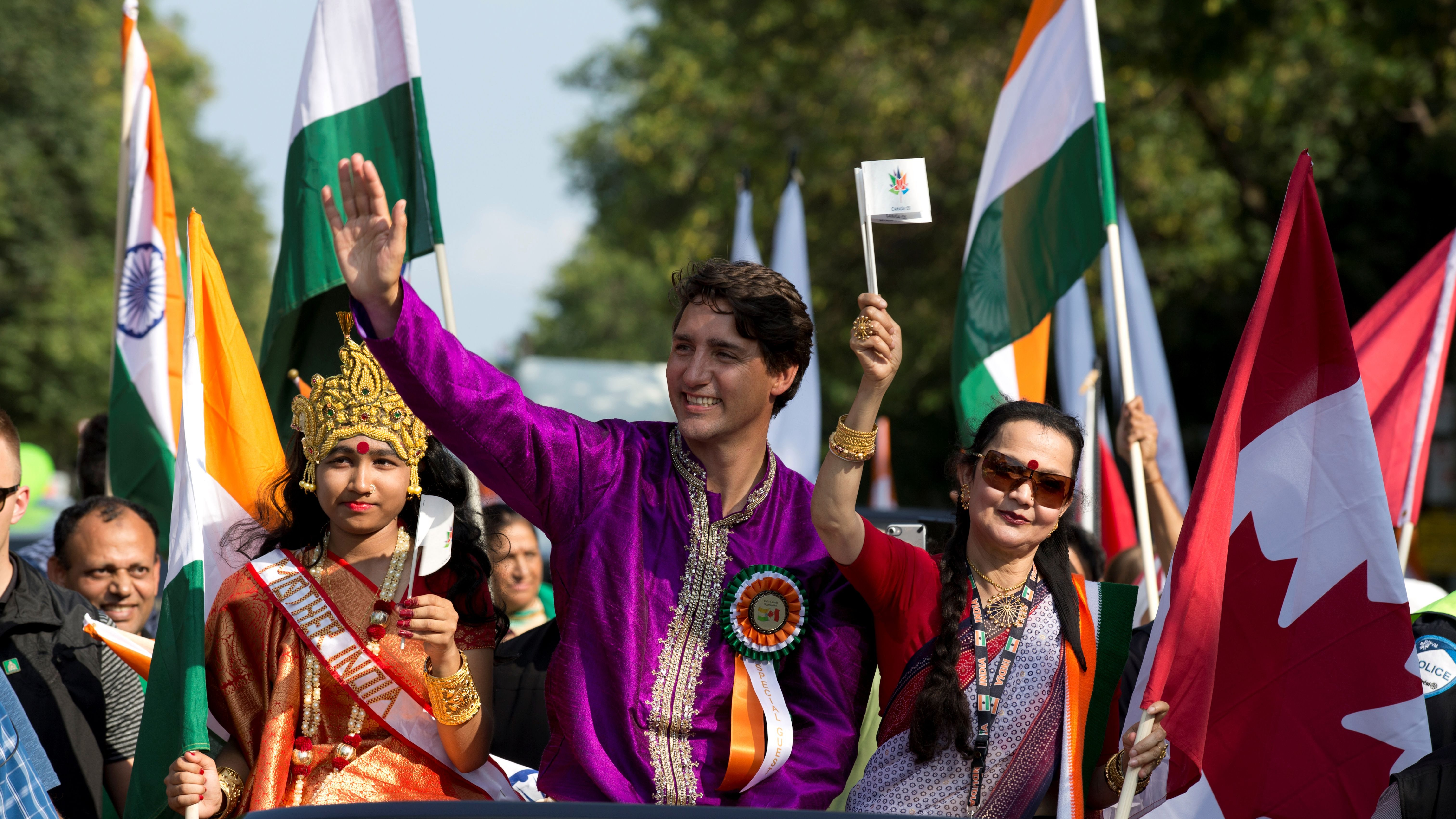 Canada's Prime Minister Justin Trudeau participates in the India Day Parade in Montreal