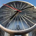 A giant clock is seen over the entrance of Cergy-Saint-Christophe railway station in Cergy
