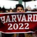 "A Harvard University student cheers during the 135th playing of ""The Game"" against Yale University, at Fenway Park in Boston, Massachusetts, U.S., November 17, 2018. REUTERS/Brian Snyder - RC140C5D1500"