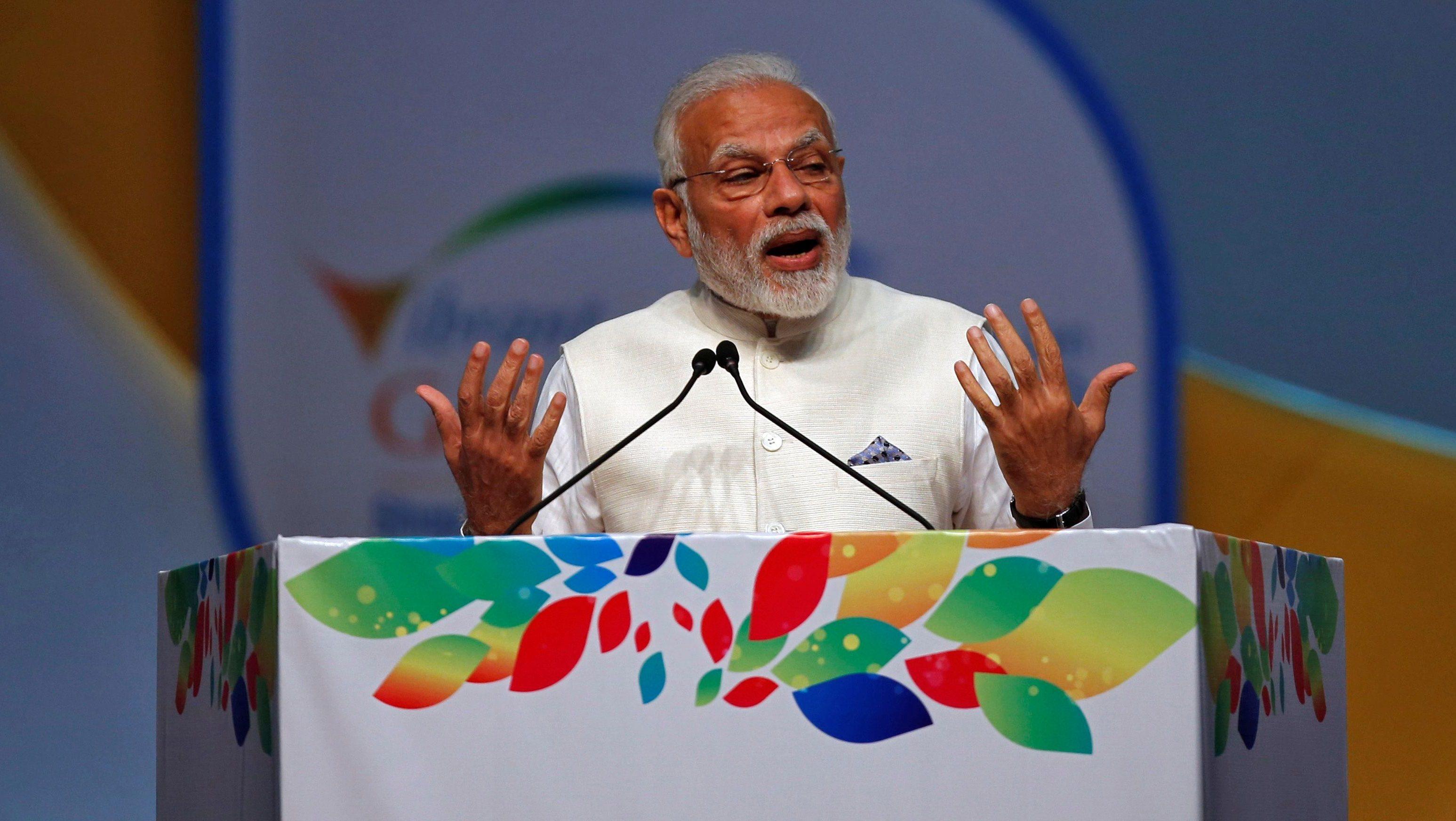 India's Prime Minister Narendra Modi speaks during the Vibrant Gujarat Global Summit in Gandhinagar