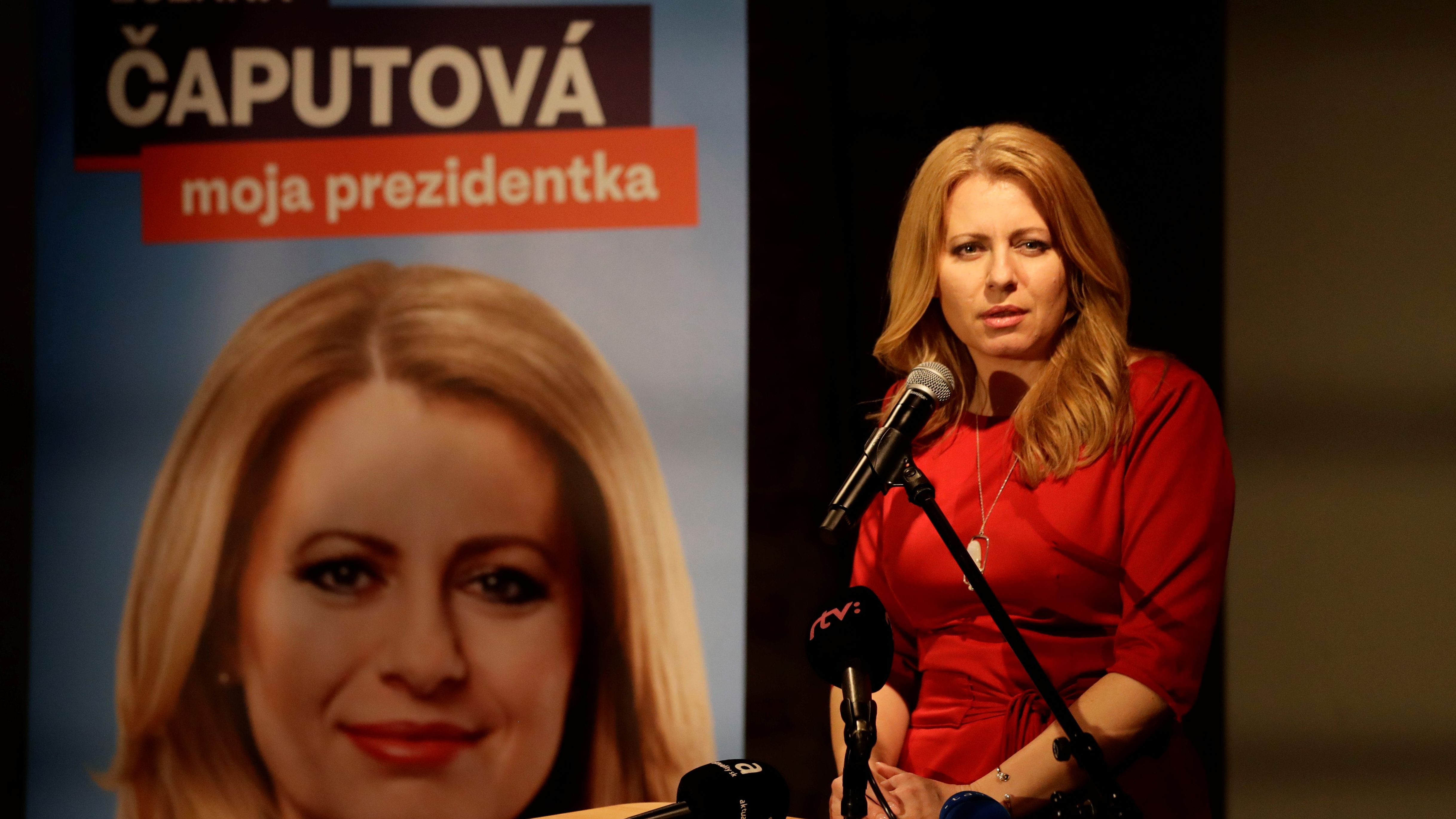 Slovakia's presidential candidate Zuzana Caputova speaks while waiting for the first unofficial results at a party election headquarters in Bratislava, Slovakia, March 16, 2019.