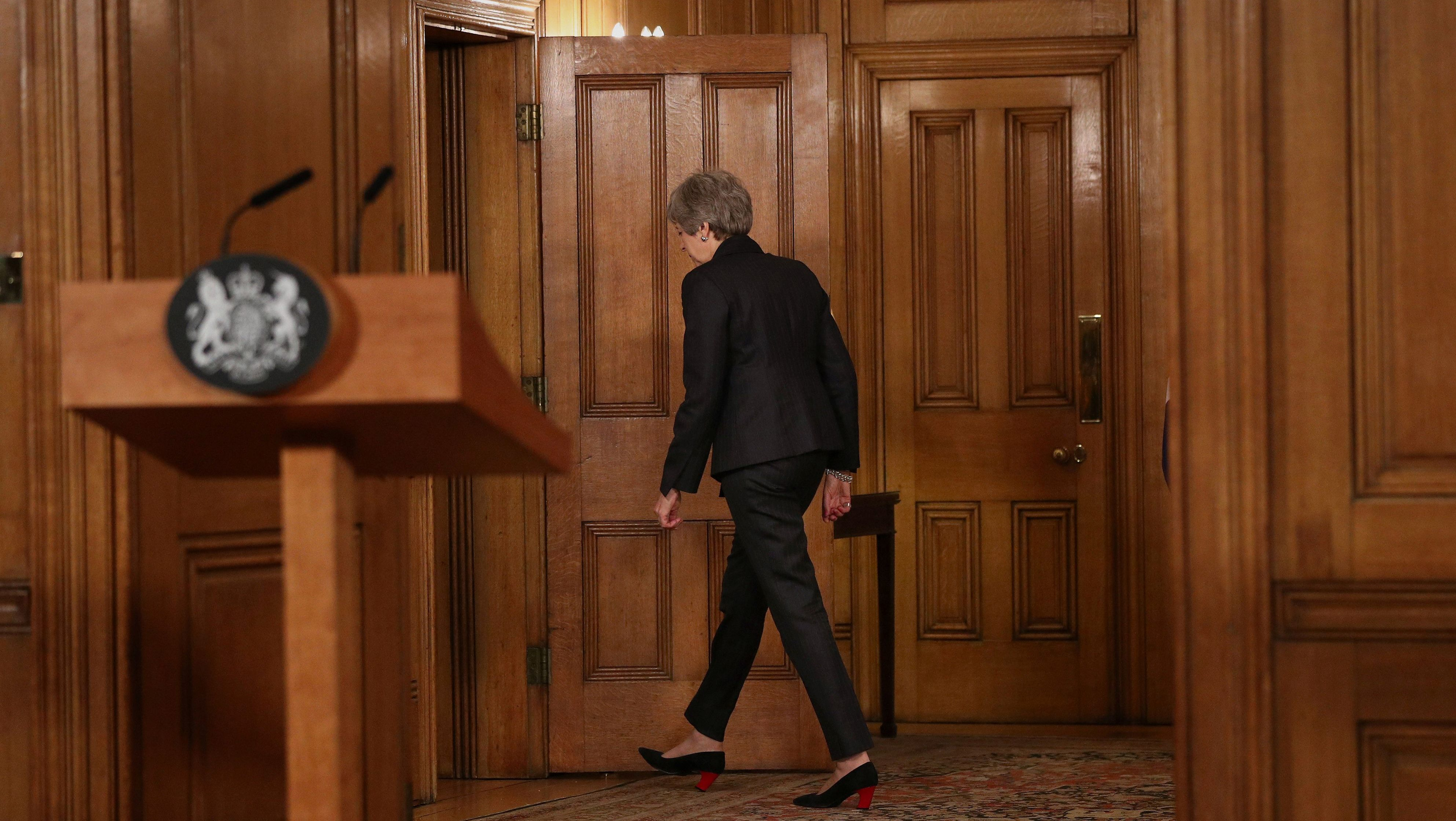 Britain's Prime Minister Theresa May leaves after making a statement about Brexit in Downing Street in London, Britain March 20, 2019.