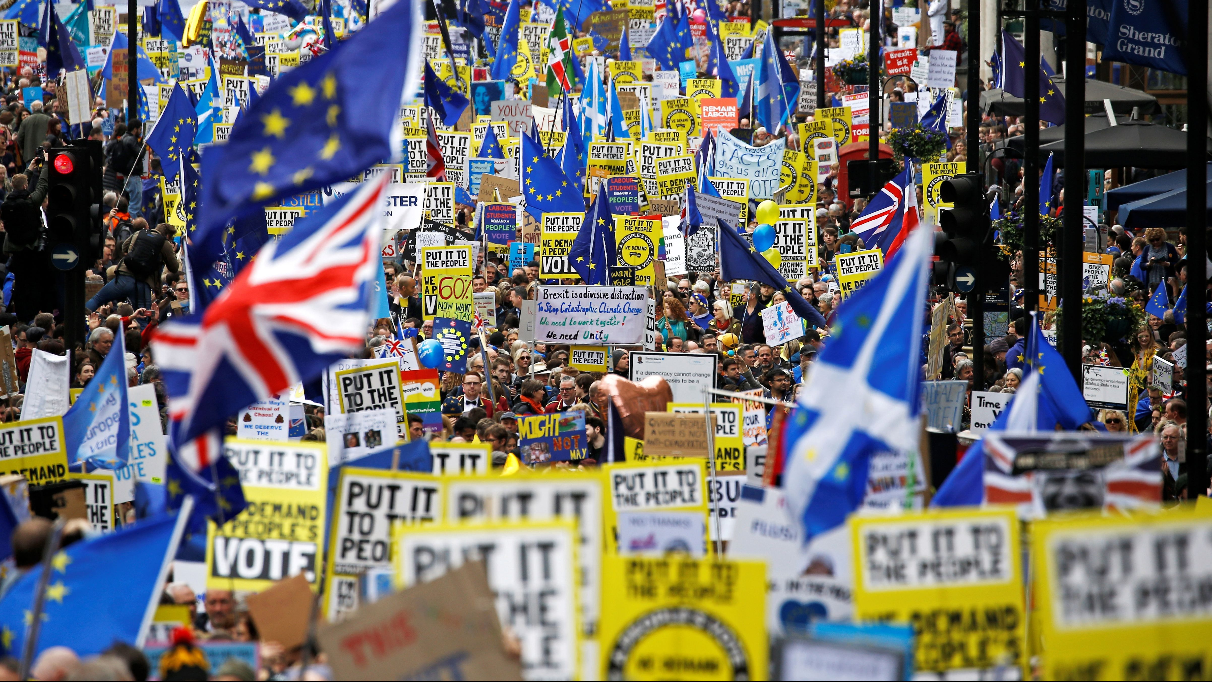EU supporters, calling on the government to give Britons a vote on the final Brexit deal, participate in the 'People's Vote' march in central London, Britain March 23, 2019.