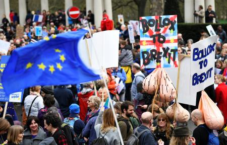 An EU flag waves at the London protests.