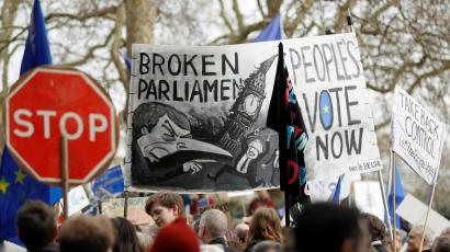 EU supporters participate in the 'People's Vote' march in central London
