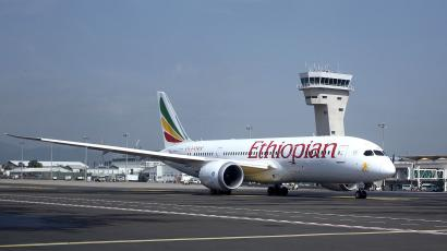 An Ethiopian Airlines Boeing 787-8 Dreamliner plane waits to take off from the Bole International Airport in Ethiopia's capital Addis Ababa August 21, 2015. Ethiopian Airlines is powering ahead with a plan to expand its fleet and route network after exceeding its profit target for the 2014/15 year, its chief executive said in an interview.