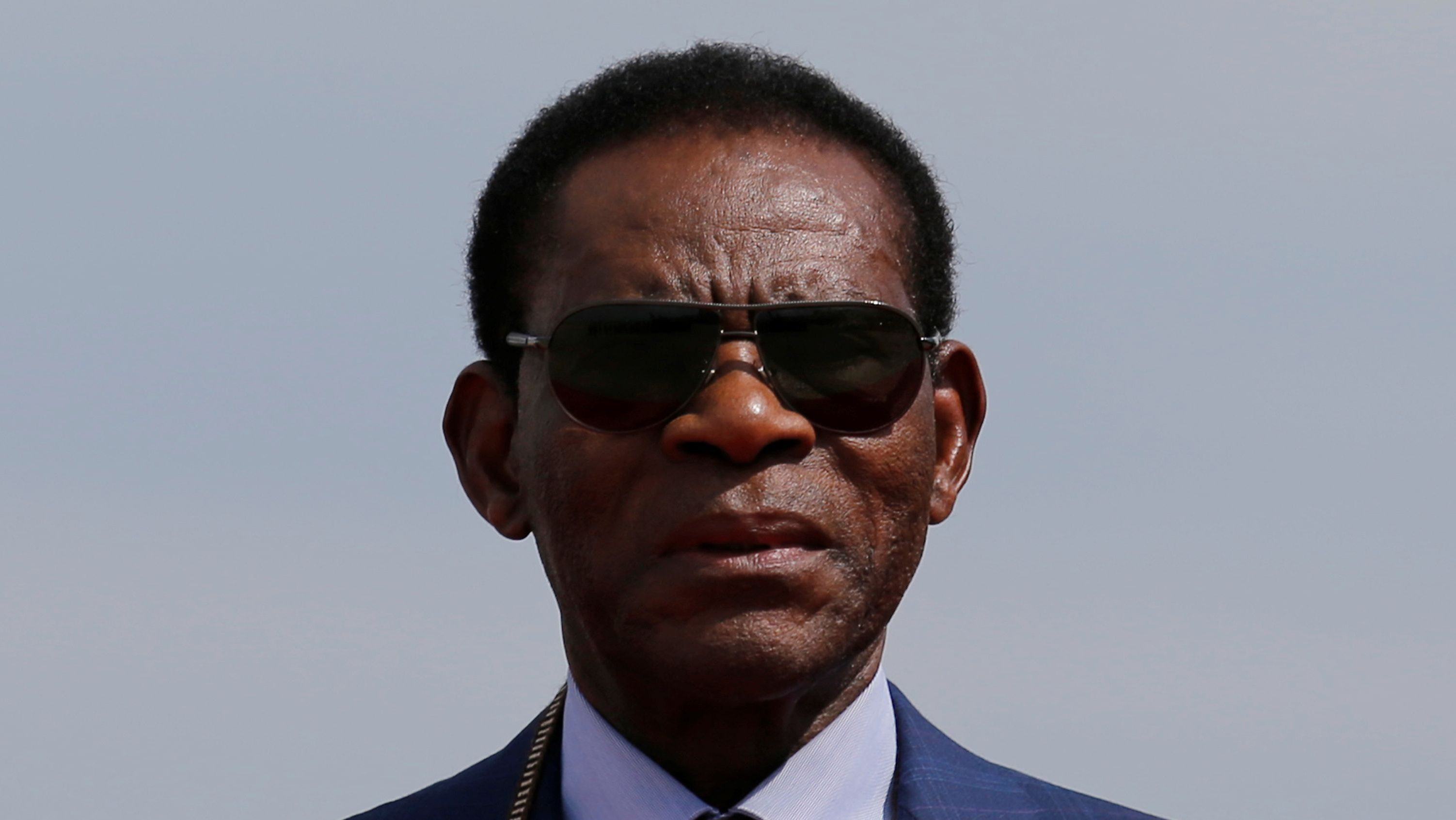Equatorial Guinean President Teodoro Obiang Nguema Mbasogo is seen at his arrival to the Viru Viru airport, ahead of his attendance at the Gas Exporting Countries Forum Summit, in Santa Cruz, Bolivia, November 22, 2017.