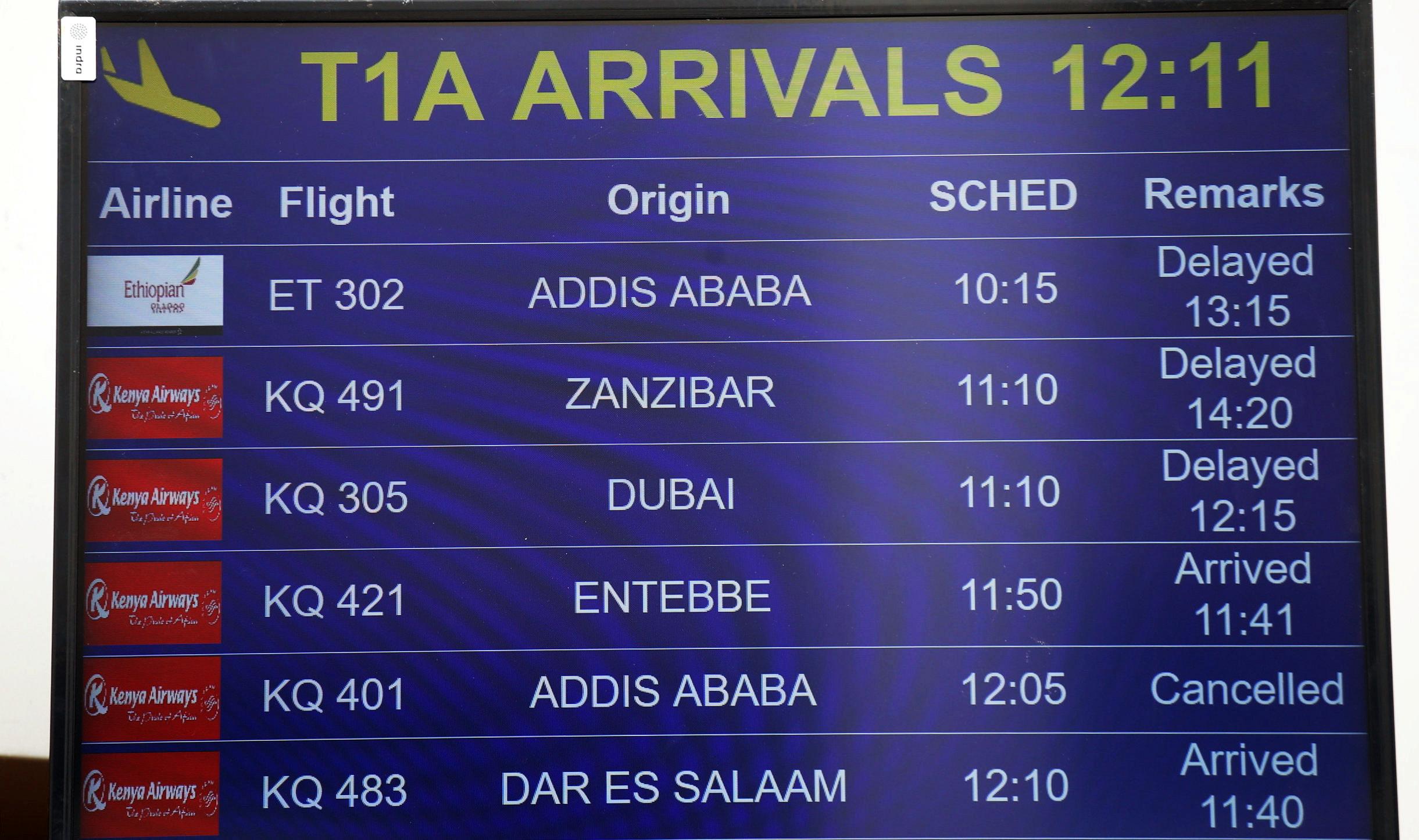 A flight information board displaying the details of Ethiopian Airlines Flight ET 302 is seen at the Jomo Kenyatta International Airport (JKIA) in Nairobi, Kenya March 10, 2019.