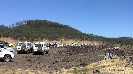 A general view shows the scene of the Ethiopian Airlines Flight ET 302 plane crash, near the town of Bishoftu, southeast of Addis Ababa, Ethiopia March 10, 2019.