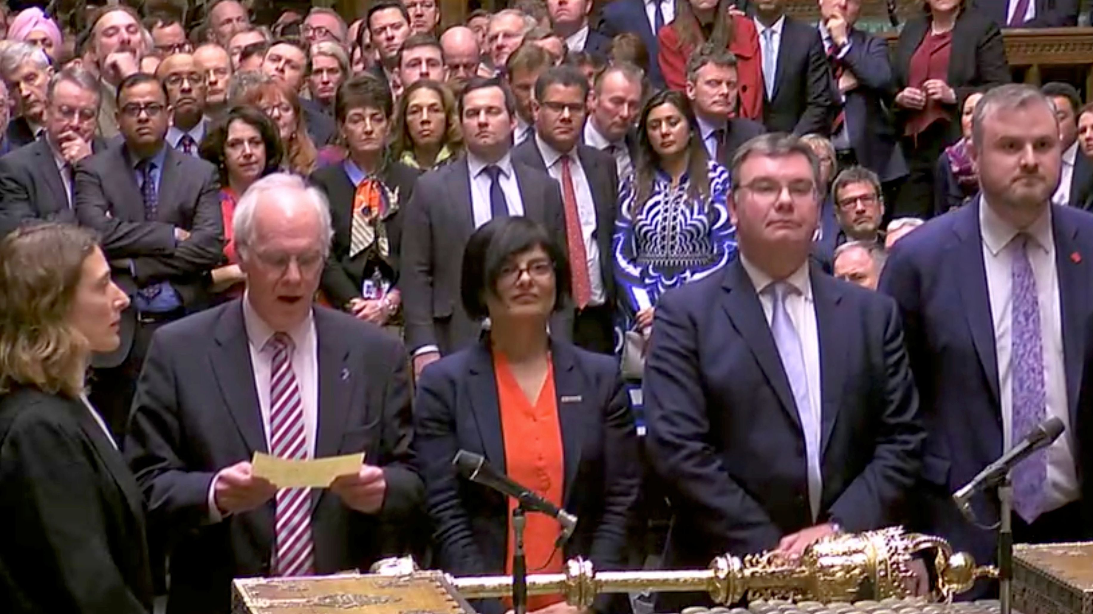 Tellers announce the results of the vote on British Prime Minister Theresa May's Brexit deal in Parliament in London, Britain, March 12, 2019, in this screen grab taken from video.
